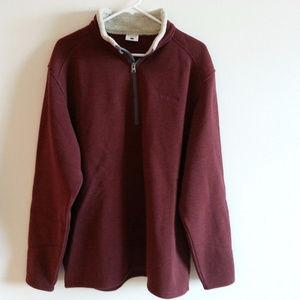 Columbia rust/burgundy 1/2 zip sweater mens L
